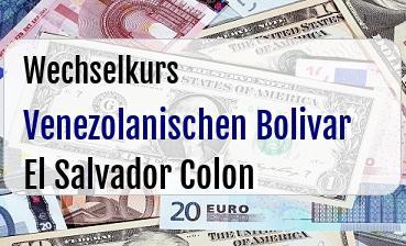 Venezolanischen Bolivar in El Salvador Colon