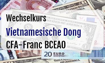 Vietnamesische Dong in CFA-Franc BCEAO