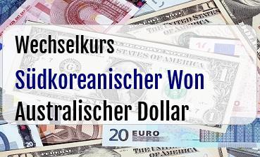 Südkoreanischer Won in Australischer Dollar