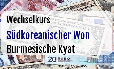 Südkoreanischer Won in Burmesische Kyat