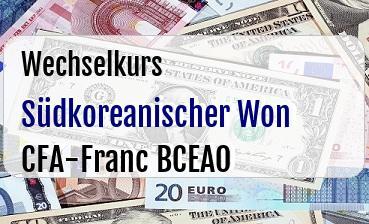 Südkoreanischer Won in CFA-Franc BCEAO