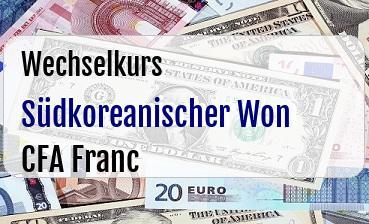 Südkoreanischer Won in CFA Franc