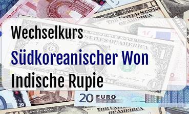 Südkoreanischer Won in Indische Rupie