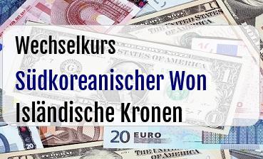 Südkoreanischer Won in Isländische Kronen