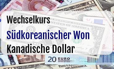 Südkoreanischer Won in Kanadische Dollar