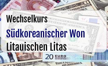 Südkoreanischer Won in Litauischen Litas