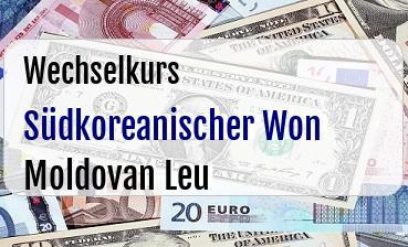 Südkoreanischer Won in Moldovan Leu