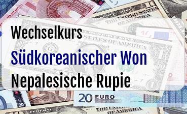Südkoreanischer Won in Nepalesische Rupie