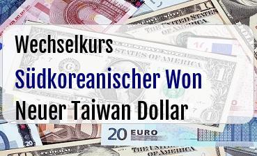 Südkoreanischer Won in Neuer Taiwan Dollar