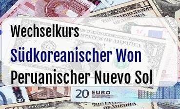 Südkoreanischer Won in Peruanischer Nuevo Sol