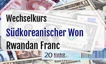 Südkoreanischer Won in Rwandan Franc