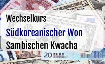 Südkoreanischer Won in Sambischen Kwacha