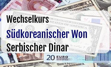 Südkoreanischer Won in Serbischer Dinar