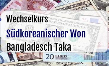 Südkoreanischer Won in Bangladesch Taka