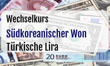 Südkoreanischer Won in Türkische Lira