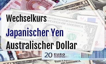 Japanischer Yen in Australischer Dollar