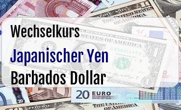 Japanischer Yen in Barbados Dollar