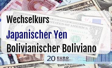 Japanischer Yen in Bolivianischer Boliviano