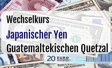 Japanischer Yen in Guatemaltekischen Quetzal