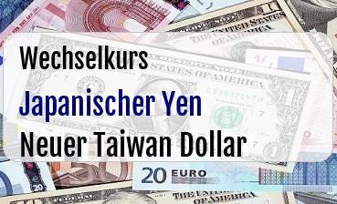Japanischer Yen in Neuer Taiwan Dollar