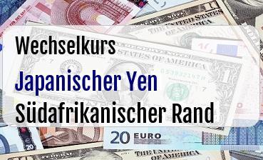 Japanischer Yen in Südafrikanischer Rand