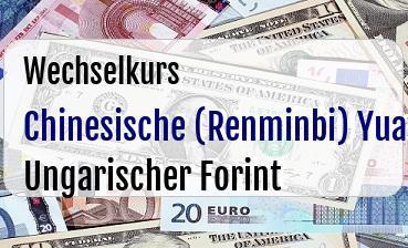 Chinesische (Renminbi) Yuan in Ungarischer Forint