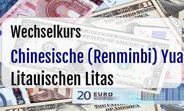 Chinesische (Renminbi) Yuan in Litauischen Litas