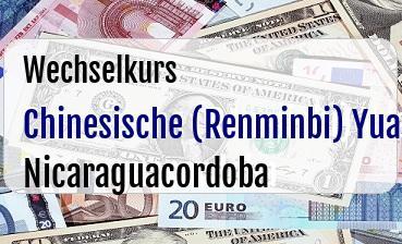 Chinesische (Renminbi) Yuan in Nicaraguacordoba