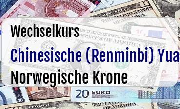 Chinesische (Renminbi) Yuan in Norwegische Krone