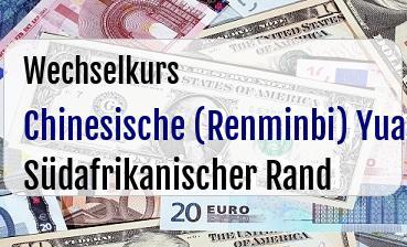 Chinesische (Renminbi) Yuan in Südafrikanischer Rand