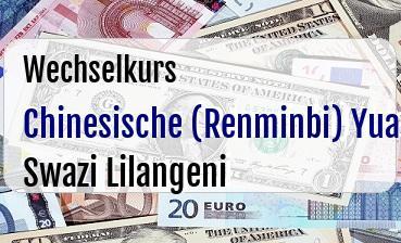 Chinesische (Renminbi) Yuan in Swazi Lilangeni