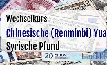 Chinesische (Renminbi) Yuan in Syrische Pfund