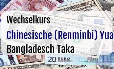 Chinesische (Renminbi) Yuan in Bangladesch Taka