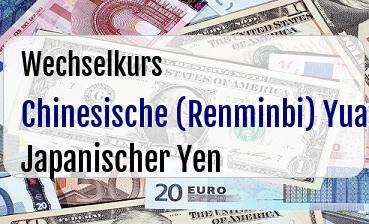 Chinesische (Renminbi) Yuan in Japanischer Yen